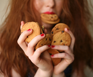 chocolate chip cookies, portrait, and red hair image