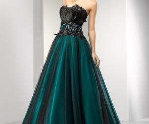 dress, evening dress, and green image