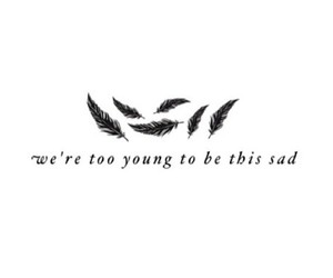 sad, young, and feather image