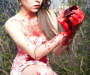 blood, girl, and photography image