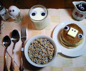 breakfast, eyes, and food image