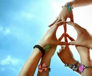 hands, sky, and peace image