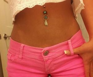 navel, piercing, and pink image