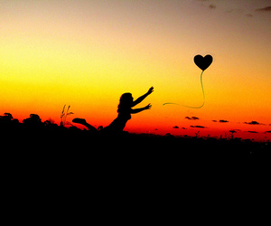heart, sunset, and balloons image