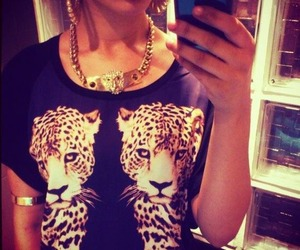 fashion, gold, and tiger image