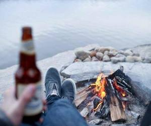 camping, fire, and lake image