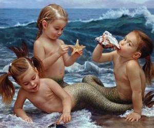 baby, sea, and girl image
