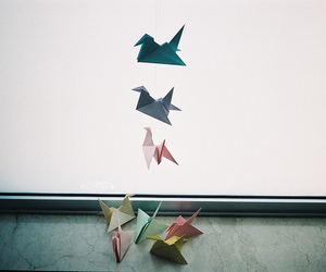 origami, vintage, and birds image