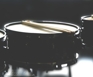 black and white, drums, and music image