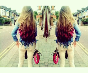 blue, curly hair, and pink hair image