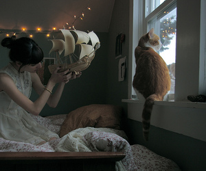 girl, cat, and light image