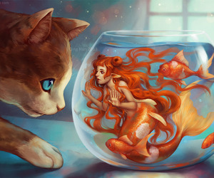 cat, mermaid, and fish image