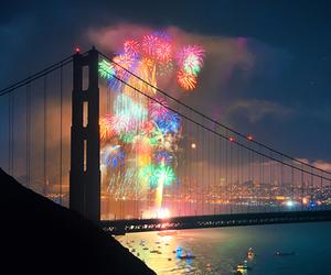 fireworks, bridge, and night image