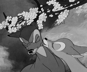 bambi and black and white image