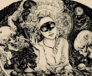 art, skull, and skeleton image