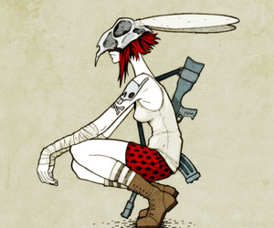 girl, gun, and illustration image