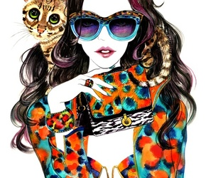 fashion, cat, and drawing image
