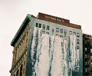 building, waterfall, and water image