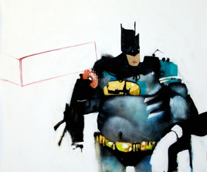 batman, painting, and fat image