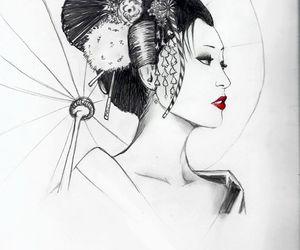 drawing, geisha, and japan image
