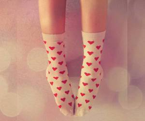 socks, hearts, and red image