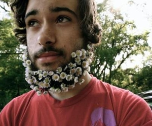 beard, flowers, and boy image
