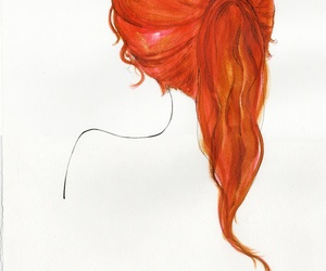art, hair, and red image
