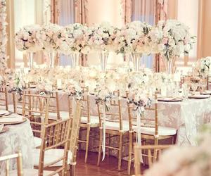 blush, centerpiece, and weddings image