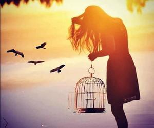 bird, girl, and freedom image
