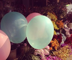 balloon, flower, and pink image