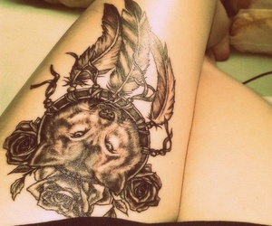 wolf, tattoo, and rose image