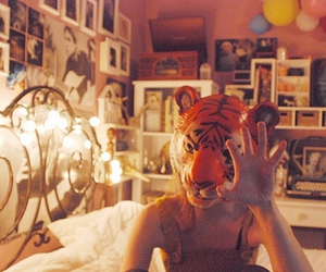 bed, mask, and girl image