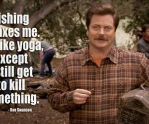 parks and recreation, ron swanson, and yoga image