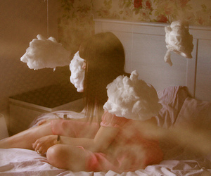 girl, clouds, and Dream image
