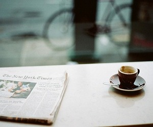 coffee, newspaper, and vintage image