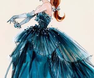 dress, blue, and drawing image
