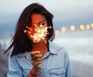 girl, beach, and fireworks image