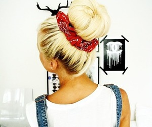 blonde, hair, and bun image