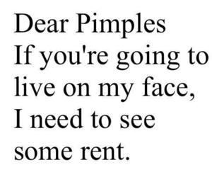 PIMPLES, funny, and quote image