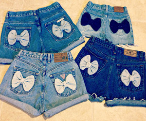 shorts, bow, and jeans image