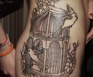 birdcage, birds, and woman image