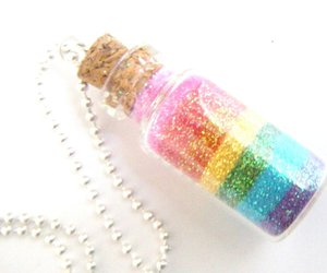 rainbow, bottle, and glitter image