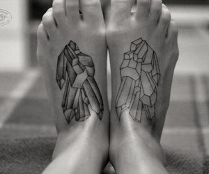 crystal, feet, and inked image