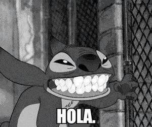 stitch, black and white, and hola image