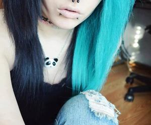 blue hair, emo, and girl image