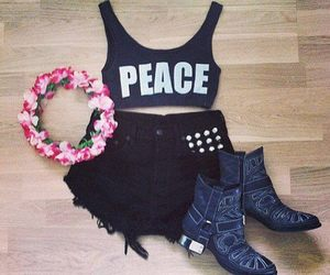 fashion, flowers, and peace image