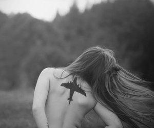 airplane, girl, and tattoo image