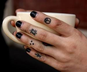 tattoo, nails, and black image