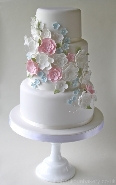 pink and white wedding cake - Google Search on We Heart It