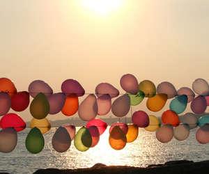 balloons, beach, and sun image